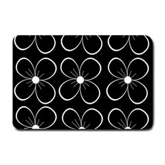 Black and white floral pattern Small Doormat