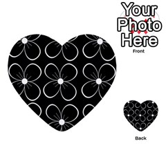 Black and white floral pattern Multi-purpose Cards (Heart)