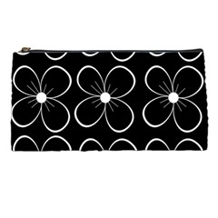 Black and white floral pattern Pencil Cases