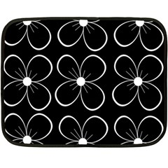 Black and white floral pattern Double Sided Fleece Blanket (Mini)