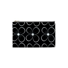 Black and white floral pattern Cosmetic Bag (Small)