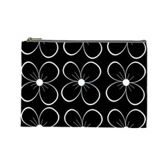 Black and white floral pattern Cosmetic Bag (Large)