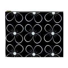 Black and white floral pattern Cosmetic Bag (XL)