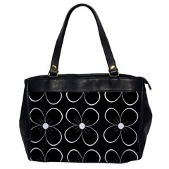 Black and white floral pattern Office Handbags