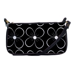 Black and white floral pattern Shoulder Clutch Bags