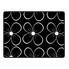 Black and white floral pattern Fleece Blanket (Small)