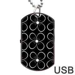 Black and white floral pattern Dog Tag USB Flash (Two Sides)