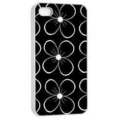 Black and white floral pattern Apple iPhone 4/4s Seamless Case (White)