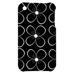 Black and white floral pattern Apple iPhone 3G/3GS Hardshell Case