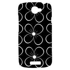 Black and white floral pattern HTC One S Hardshell Case