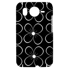 Black and white floral pattern HTC Desire HD Hardshell Case