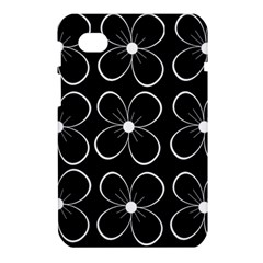 Black and white floral pattern Samsung Galaxy Tab 7  P1000 Hardshell Case