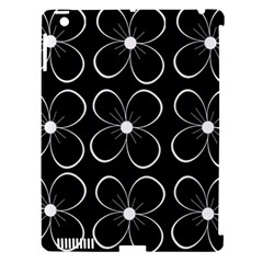 Black and white floral pattern Apple iPad 3/4 Hardshell Case (Compatible with Smart Cover)