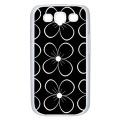 Black and white floral pattern Samsung Galaxy S III Case (White)