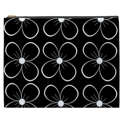 Black and white floral pattern Cosmetic Bag (XXXL)