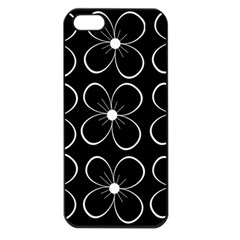 Black and white floral pattern Apple iPhone 5 Seamless Case (Black)
