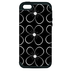 Black and white floral pattern Apple iPhone 5 Hardshell Case (PC+Silicone)