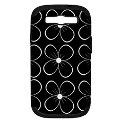Black and white floral pattern Samsung Galaxy S III Hardshell Case (PC+Silicone)