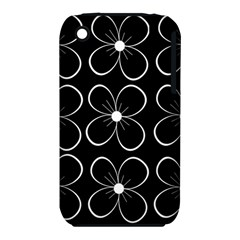Black and white floral pattern Apple iPhone 3G/3GS Hardshell Case (PC+Silicone)