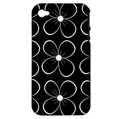Black and white floral pattern Apple iPhone 4/4S Hardshell Case (PC+Silicone)