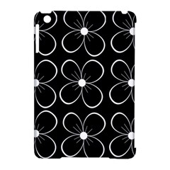 Black and white floral pattern Apple iPad Mini Hardshell Case (Compatible with Smart Cover)