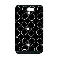 Black and white floral pattern Samsung Galaxy Note 2 Hardshell Case (PC+Silicone)