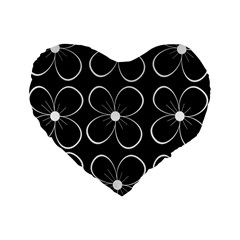Black and white floral pattern Standard 16  Premium Heart Shape Cushions