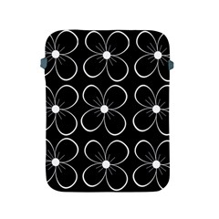 Black and white floral pattern Apple iPad 2/3/4 Protective Soft Cases