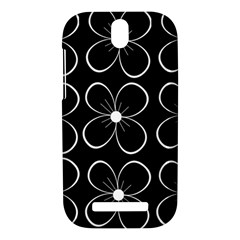 Black and white floral pattern HTC One SV Hardshell Case