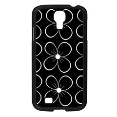 Black and white floral pattern Samsung Galaxy S4 I9500/ I9505 Case (Black)