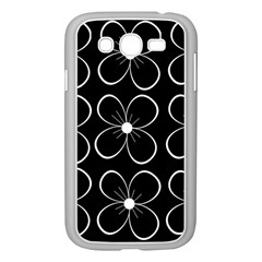 Black and white floral pattern Samsung Galaxy Grand DUOS I9082 Case (White)