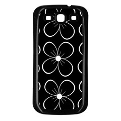 Black and white floral pattern Samsung Galaxy S3 Back Case (Black)