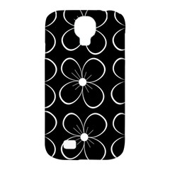 Black and white floral pattern Samsung Galaxy S4 Classic Hardshell Case (PC+Silicone)