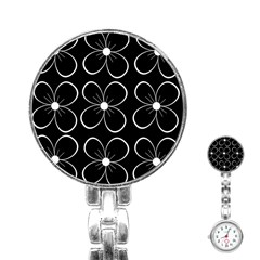 Black and white floral pattern Stainless Steel Nurses Watch