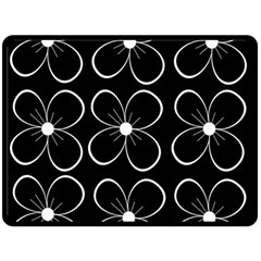 Black and white floral pattern Double Sided Fleece Blanket (Large)