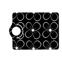 Black and white floral pattern Kindle Fire HD (2013) Flip 360 Case