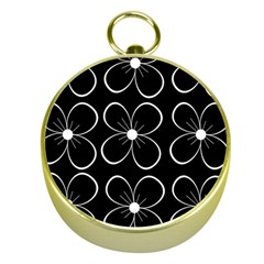 Black and white floral pattern Gold Compasses