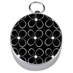 Black and white floral pattern Silver Compasses