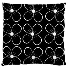 Black and white floral pattern Large Flano Cushion Case (One Side)
