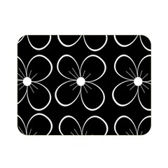 Black and white floral pattern Double Sided Flano Blanket (Mini)