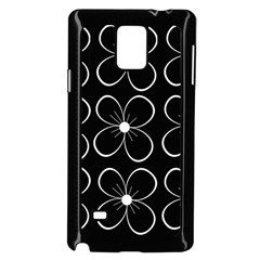 Black and white floral pattern Samsung Galaxy Note 4 Case (Black)