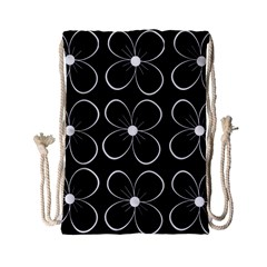 Black and white floral pattern Drawstring Bag (Small)