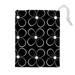Black and white floral pattern Drawstring Pouches (Extra Large)