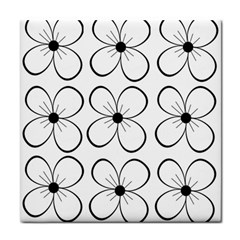White flowers pattern Tile Coasters
