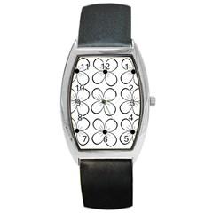 White flowers pattern Barrel Style Metal Watch