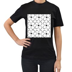 White flowers pattern Women s T-Shirt (Black) (Two Sided)