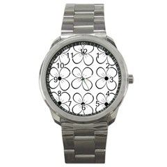 White flowers pattern Sport Metal Watch