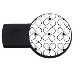 White flowers pattern USB Flash Drive Round (4 GB)
