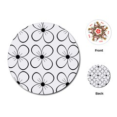 White flowers pattern Playing Cards (Round)