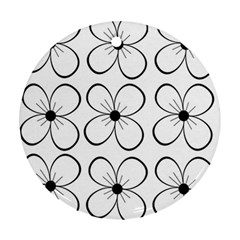 White flowers pattern Round Ornament (Two Sides)